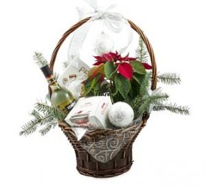 кошница с цветя за Коледа